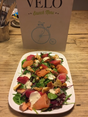 Hot Smoked Salmon Salad. This was one of our weekly specials.